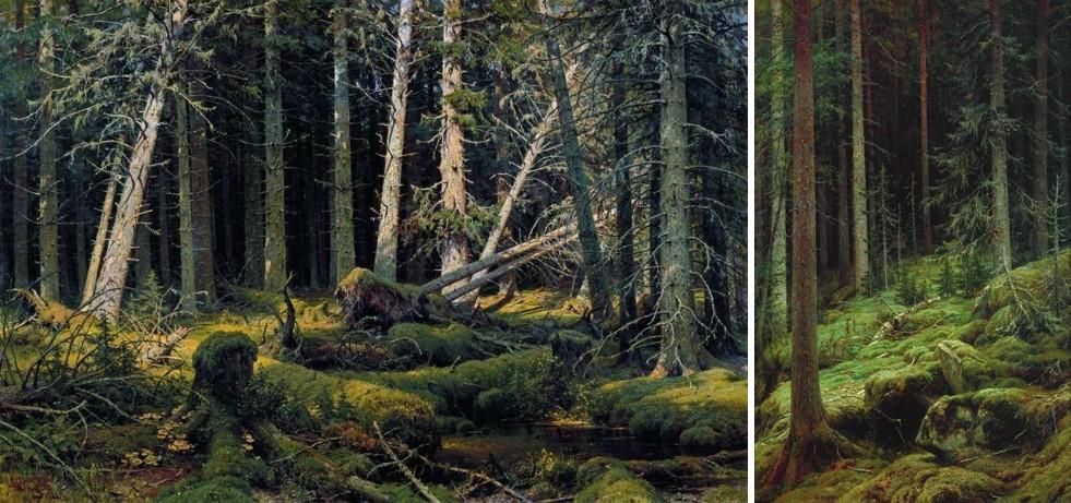 Слева: Бурелом (Деревья свергнуты ветром). И.И. Шишкин, 1888. Национальный музей «Киевская картинная галерея». Справа: Де