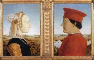 «Портрет герцога Федериго Монтефельтро и герцогини Баттисты Сфорца» Пьеро делла Франческа.