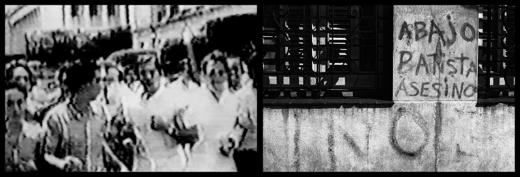 Рикардо Элиас. Из серии «Эпоха», 2000—2002. Слева: протест студентов Университета Гаваны в 1953 году. Люди присоединились