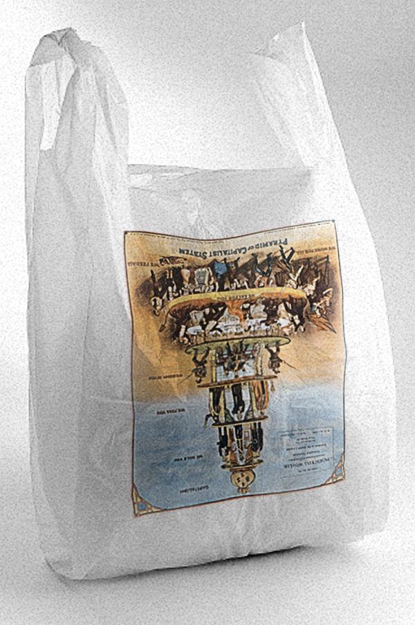 """Максим Спиваков, «Пакет """"Пирамида"""". Проект мерчандайзинга», 2012. Печать на полиэтиленовом пакете. 30×60×20 см."""