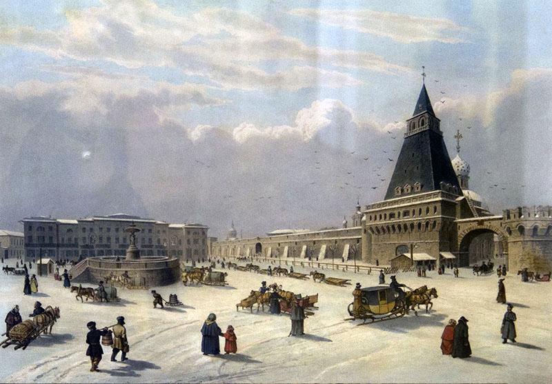 Луи Пьер-Альфонс Бишебуа (1801–1850). Вид Лубянской площади. 1840-е годы