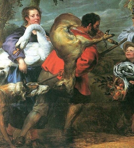Фрагмент картины Иоганна Бокхорста и Франса Снейдерса. «Крестьяне по дороге на рынок» с изображением крестьянина в левой