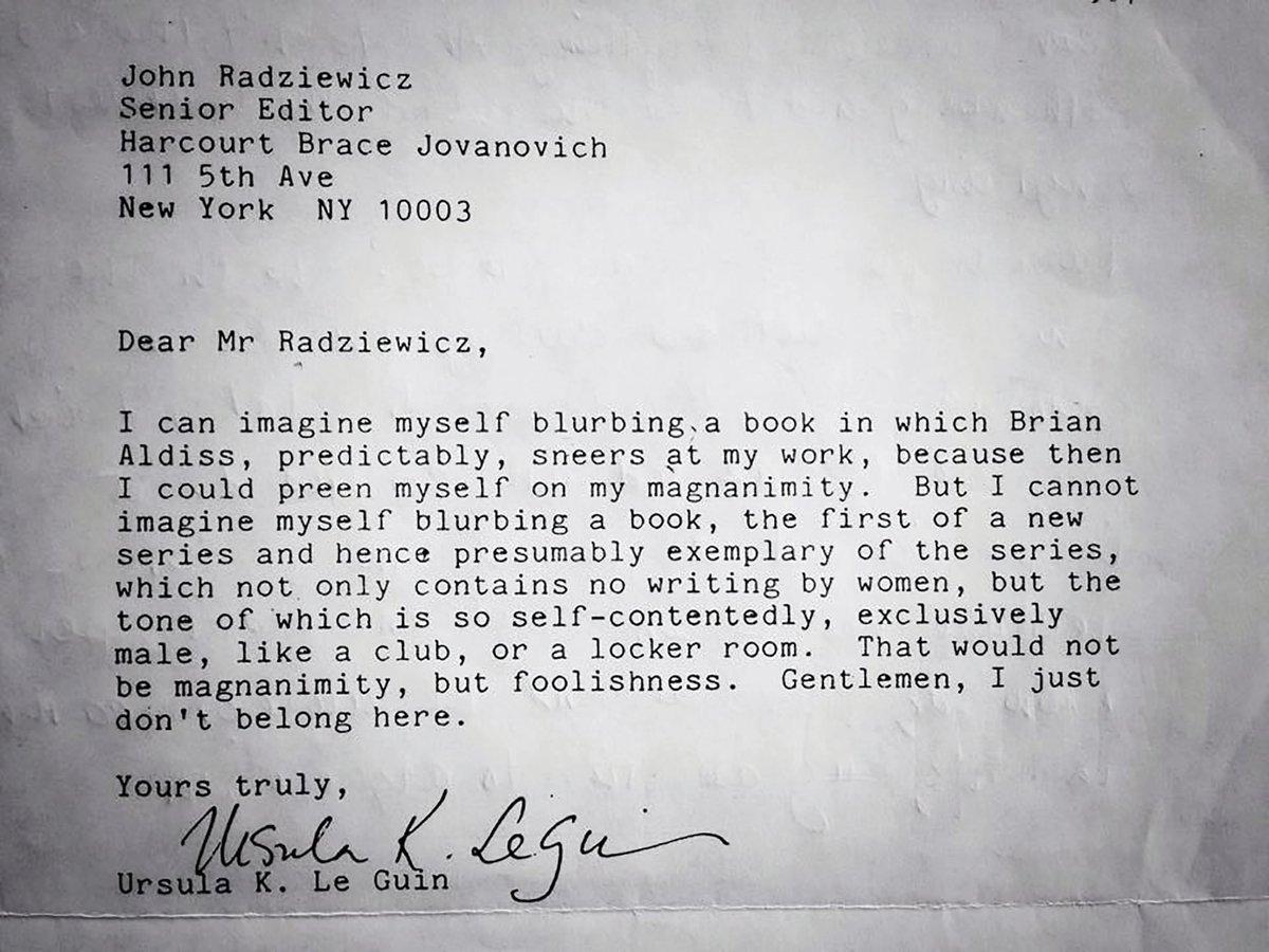 Письмо, в котором Урсула Ле Гуин отказывается писать аннотацию для антологии научной фантастики, потому что туда не включ