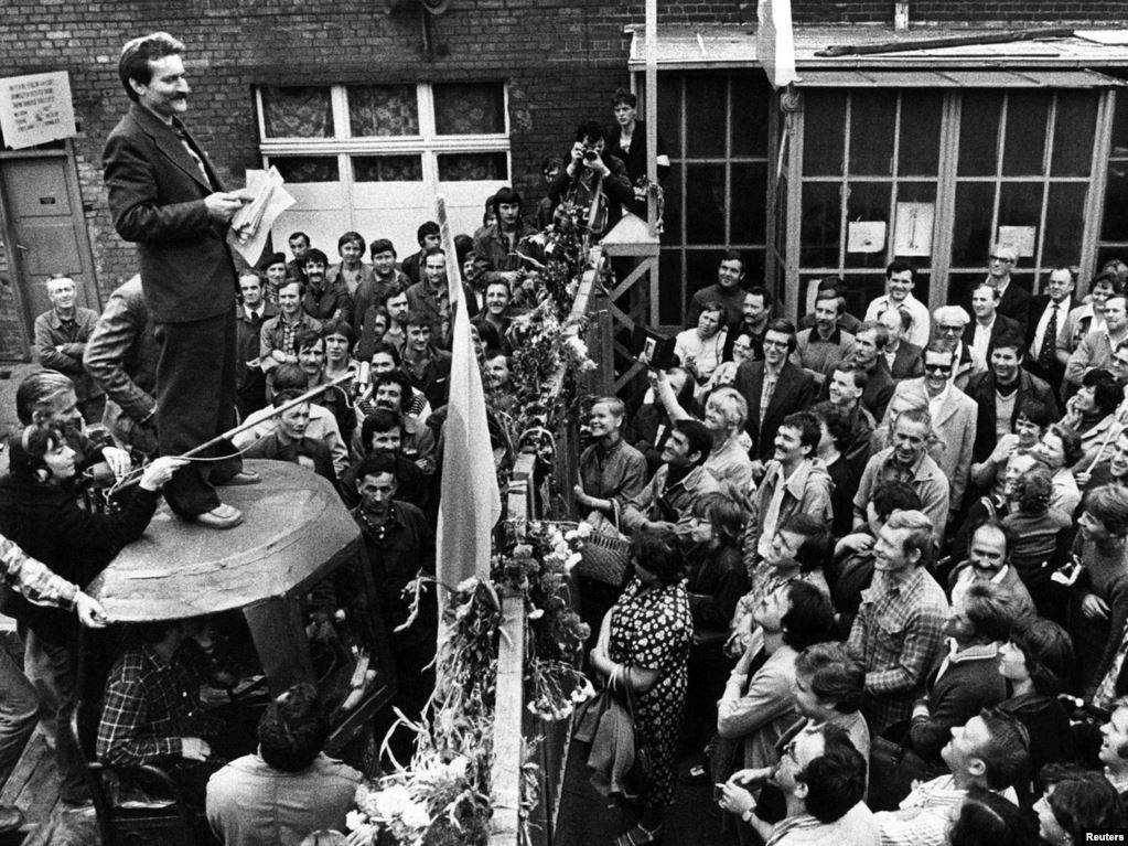 Лидер «Солидарности» Лех Валенса в августе 1980 года.