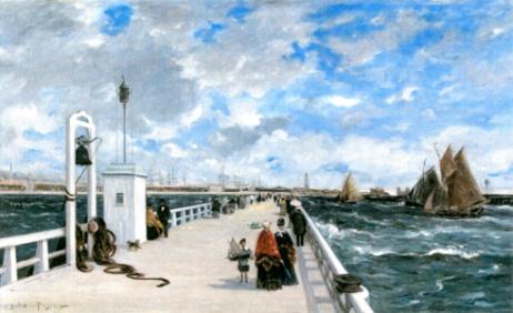 Жозеф Альфред Белле дю ПуазаМол в Трувиле Около 1876 года Холст, масло. 71×118 см Музей Бургуэн-Жальё