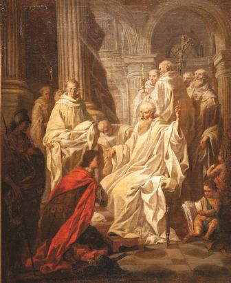 Сюблейра, Пьер Юбер Святой Бенедикт Нурсийский раскрывает замысел короля готов Тотилы Франция, XVIII в. Холст, масло, 60×
