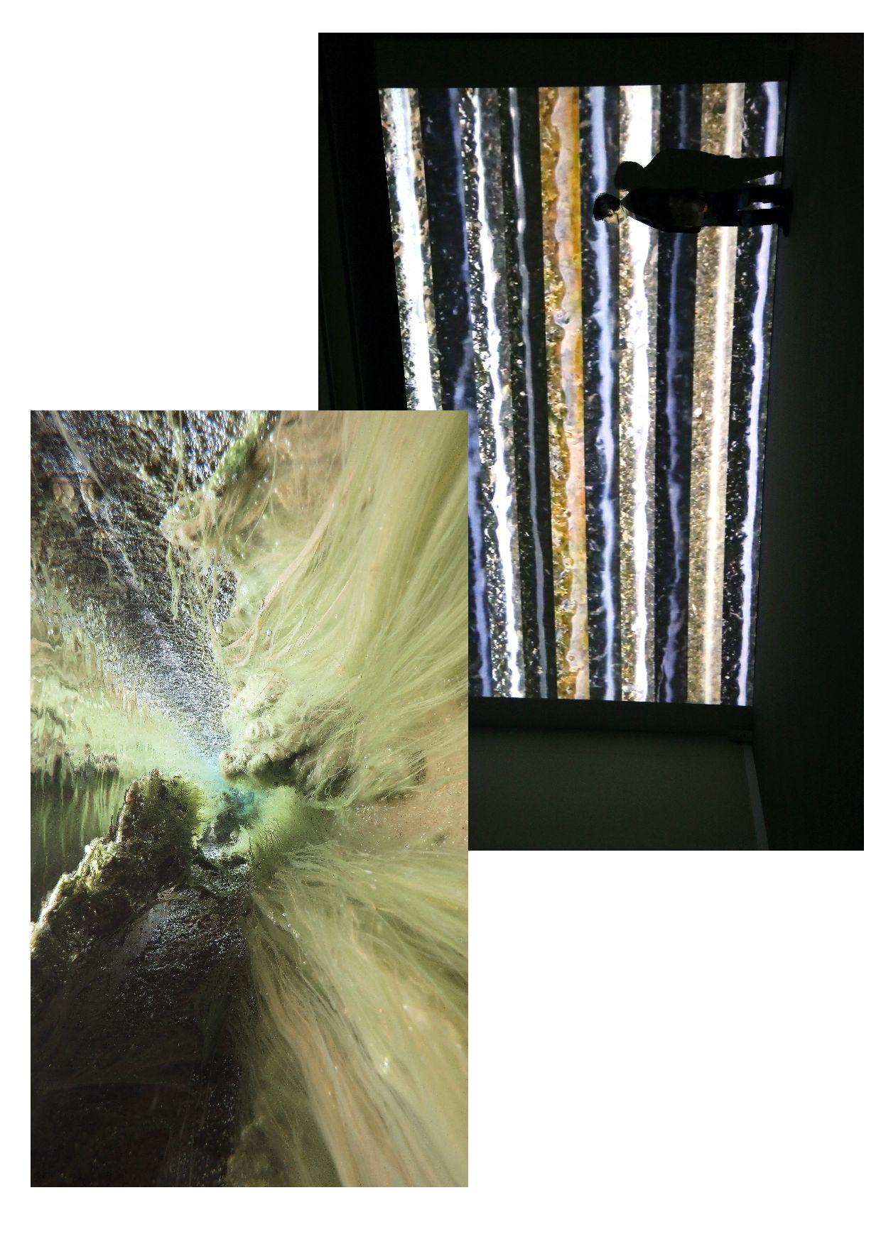 (1) Кадр из«The Stream VIII» (2018). (2)«The Stream II» на показе в«Aqua Passage,Shiga Citizens». Theatre for the Art