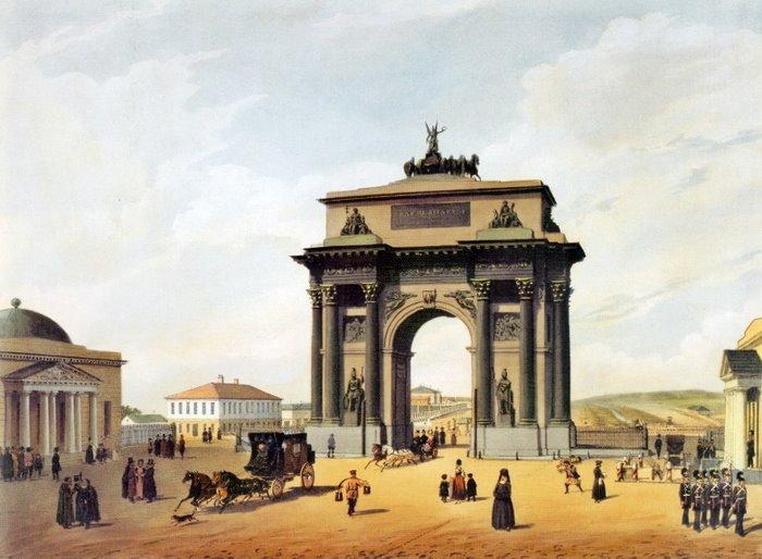 Тверская Застава и Триумфальные ворота в 1848 году. Рисунок Ф. Бенуа