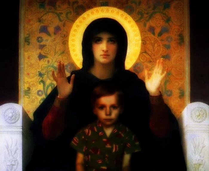 В рамках картины Вильяма Бугро «Дева Утешения» и фотоизображения пятилетнего автора коллажа.