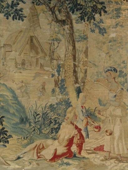 Шпалера «Ловец птиц и торговка вишней» (фрагмент)Фландрия, конец XVII в.Шерсть, шелк; шпалерное ткачество 242×162 смБСИИ
