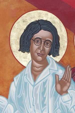 Симона Вейль на фреске Марка Дюка «Танцующие святые». Епископальная церковь Святого Григория Нисского, Сан-Франциско. kin