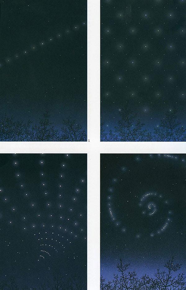 <i>Франсиско Инфанте, проекты реконструкции звездного неба, 1965-67 гг., гуашь.</i>