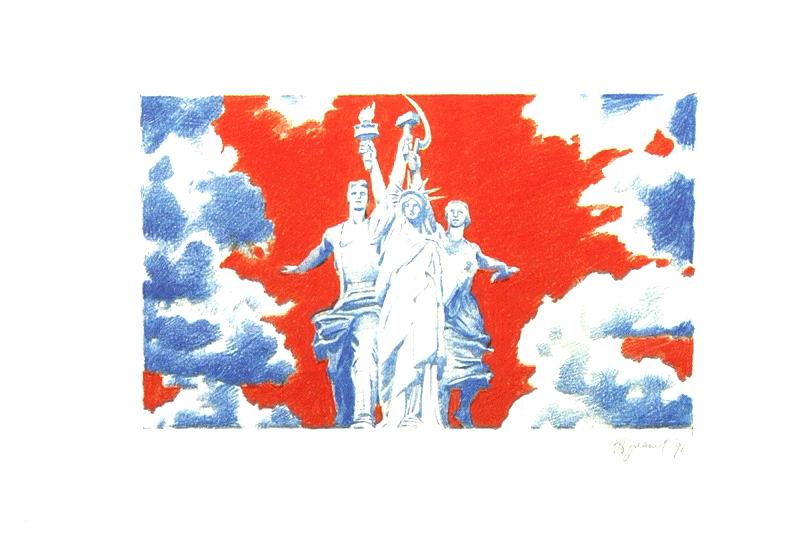 Эрик Булатов, «Happy End. Из серии «Война и мир (Битва монументов)», 1991