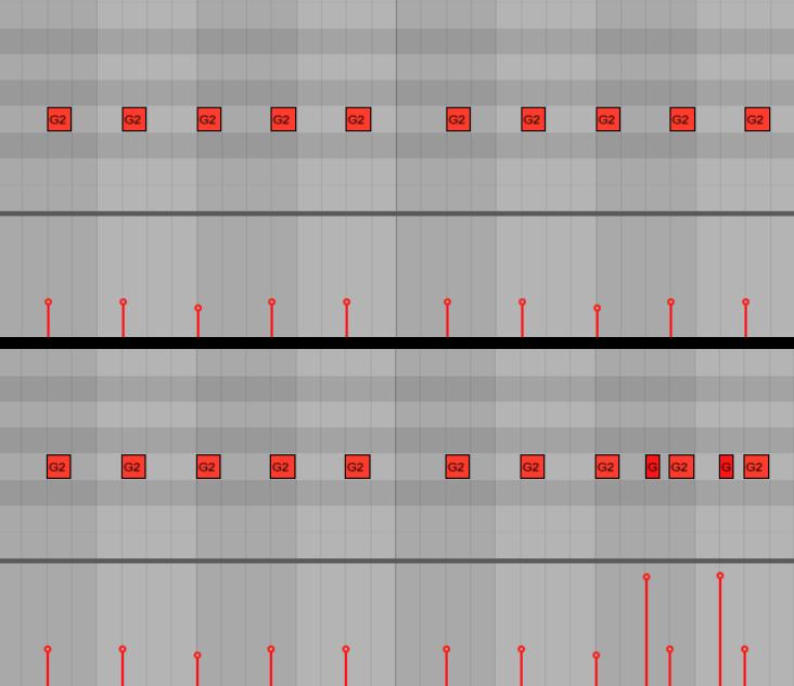 <b>Пример 3: бас-партия изначальная (сверху) и та же партия, но с измененным рисунком (снизу)</b>